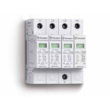 Ogranicznik przepięć kat. B, Up –  1,2kV, nominalne napięcie robocze 230VAC, 4xwarystor (L,N-PE), zestyk przełączny na wyjściu 1