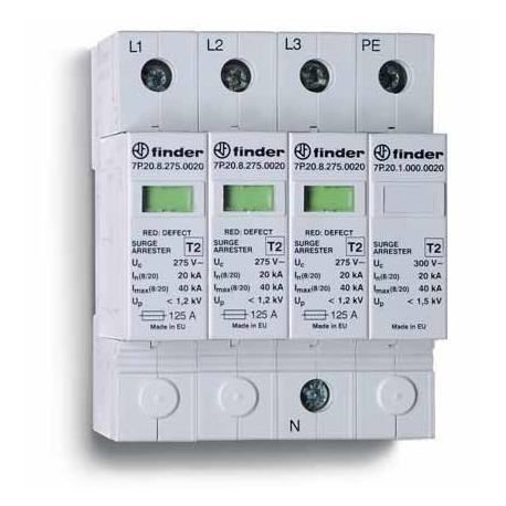 Ogranicznik przepięć kat. C 1,2/1,5kV, nominalne napięcie robocze 230VAC, 3xwarystor+iskiernik (L-N/N-PE), zestyk przełączny na