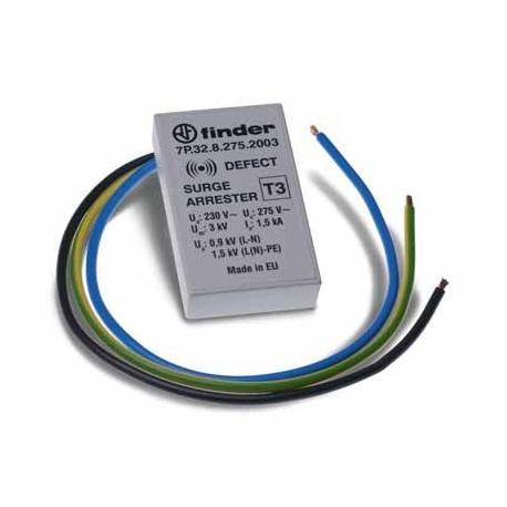 Ogranicznik przepięć kat. D 1/1,5kV, nominalne napięcie robocze 230VAC, warystor,  zestyk zwierny na wyjściu 1Z, montaż w puszka