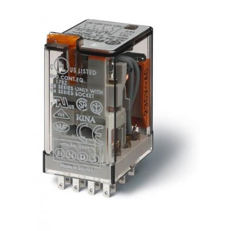 Przekaźnik 4P 7A 24V DC, styk AgNi+Au, przycisk testujący, LED + dioda, mechaniczny wskaźnik zadziałania