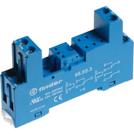 Gniazdo do przekaźników serii 40.51/40.52/40.61/44.52/44.62, modułów 99.80, zaciski śrubowe, montaż na szynę DIN 35mm (klip plas
