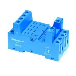 Gniazdo do przekaźników serii 56.34, modułów 99.02, 86.00 i 86.30, zaciski śrubowe, montaż na szynę DIN (klip metalowy)